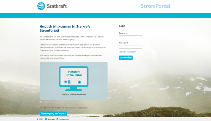 Screenshot des Statkraft Stromportals