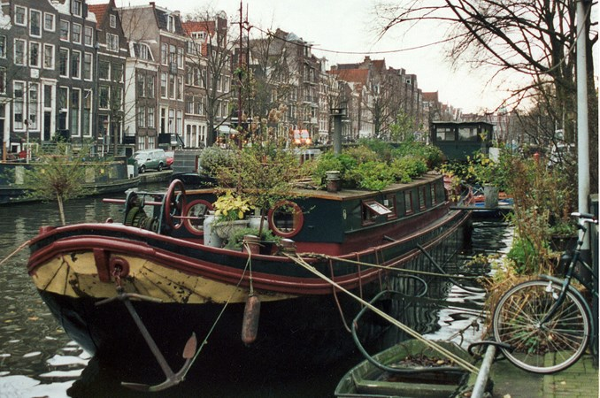 Boat in the heart of Amsterdam